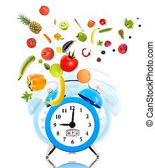 pojęcie, vegetables., zegar, dieta, tabela, owoce, nakręcać