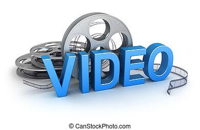 pojęcie, video., ikona