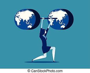 pojęcie, wektor, handlowy, illustration., weightlifting.