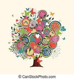 pojęcie, wiosna, drzewo, ręka robiona, pociągnięty, kwiaty