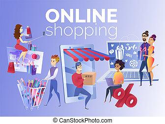 pojęcie, zakupy, ludzie, wektor, online, rysunek