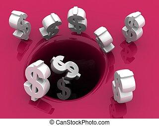 pojęcie, zbawczy, dolary, upadek, otwór, lokata