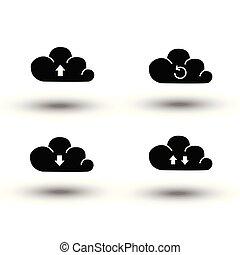 pojęcie, zbawczy, ikony, upload, obliczanie, zbiór, projektować, wektor, czarnoskóry, ściąganie, hosting, komplet, cień, chmura, ikona