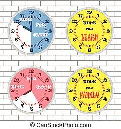 pojęcie, zegar, ściana, komplet, czas, cegła