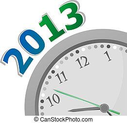 pojęcie, zegar, closeup, tło, rok, whte, nowy, 2013