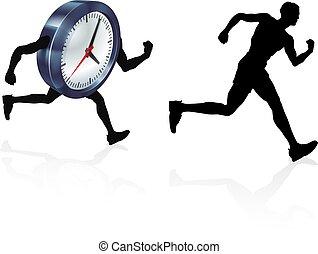 pojęcie, zegar, prąd, człowiek