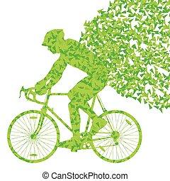 Pojęcie, zwycięzca, odizolowany, rowerzyści, Wektor, tło,...