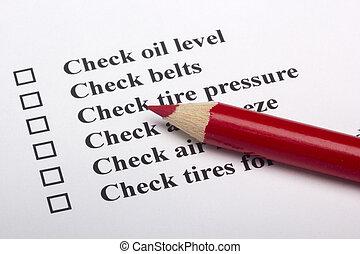pojazd, bezpieczeństwo, checklist