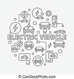 pojazd, elektryczny, ilustracja, okrągły