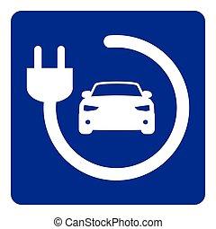 pojazd, kropka, ładujący, znak, elektryczny