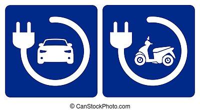 pojazd, kropka, elektryczny, ładujący, rower