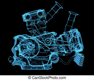 pojazd, motor, (3d, xray, błękitny, transparent)