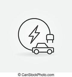 pojazd, pojęcie, szkic, ikona, elektryczny