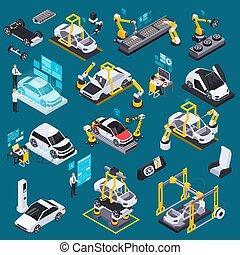 pojazd, produkcja, komplet, isometric, elektryczny