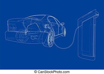 pojazd, sketch., elektryczny, wektor, naładowując stację