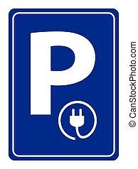 pojazd, symbol, recharging, kropka, elektryczny