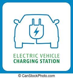 pojazd, symbol, stacja, ładujący, elektryczny