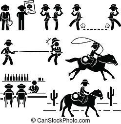 pojedynek, bar, kowboj, zachód, koń, dziki