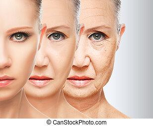 pojem, aging., postup, kráska, zdvihání, obličejový, kožešina, anti- aging, napnout se, omlazení