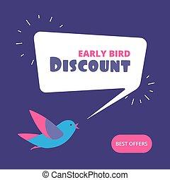 pojem, banner., nabídnout, discount., prodej, ptáček, časný, vektor, prodávat v malém, ptáci, speciální