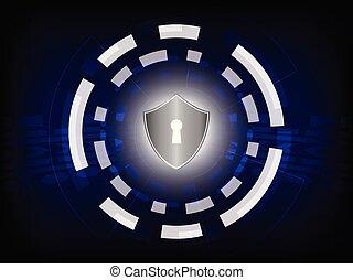 pojem, chránit, cyber, grafické pozadí., digitální, bezpečí, :