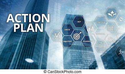 pojem, finanční machinace, direction., strategie, grafické pozadí., plánování, plán, děj, rozmazat zření