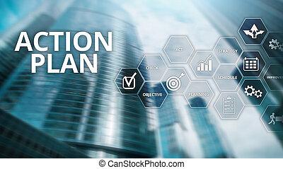pojem, finanční machinace, direction., strategie, plánování, plán, grafické pozadí, děj, rozmazat zření
