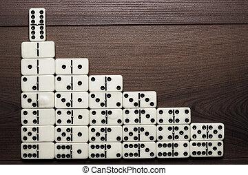 pojem, formující, domino, figurka, vůdcovství, schody