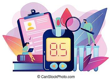 pojem, mellitus, vektor, illustration., cukrovka