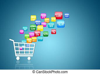 pojem, nakupování, internet, stav připojení