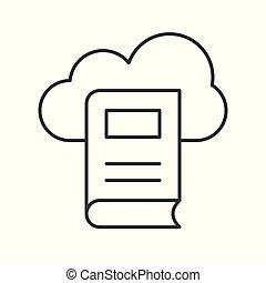 pojem, počítací, ilustrace, vektor, knihovna, mračno, ikona