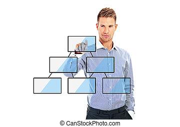 pojem, povolání, pracovní, moderní, rukopis, počítač, obchodník, čerstvý, strategie