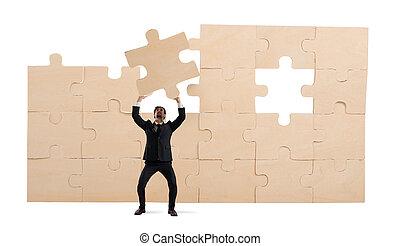 pojem, povolání, puzzle., stavět, obchodník, skladba