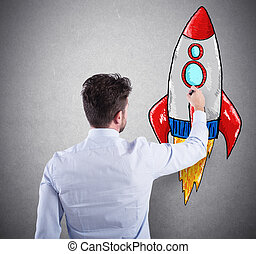 pojem, povolání, rocket., spuštění, zlepšení, podnik, obchodník, kreslení