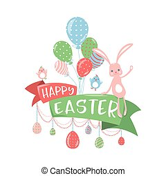 pojem, pozdrav, ilustrace, vektor, velikonoční, šťastný