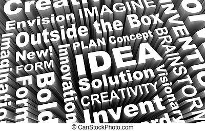 pojem, tvořivost, obrazotvornost, inovace, rozmluvy, 3, render, ilustrace