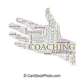 pojem, vzkaz, -, rukopis, porce, coaching, vektor, mračno