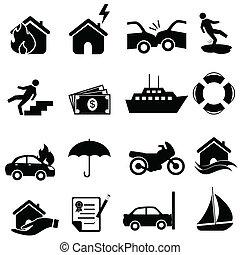 pojištění, ikona, dát