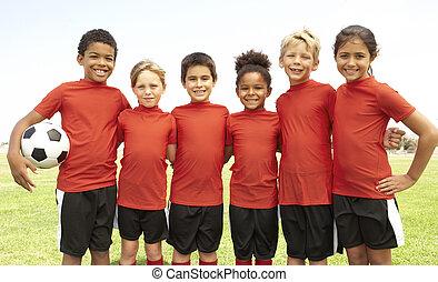 pojkar, fotboll, flickor, ung, lag