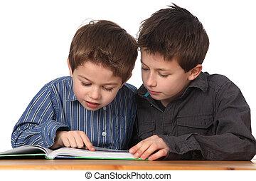 pojkar, två, inlärning, ung