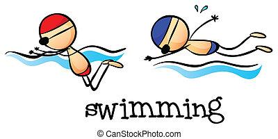 pojkar, två, simning