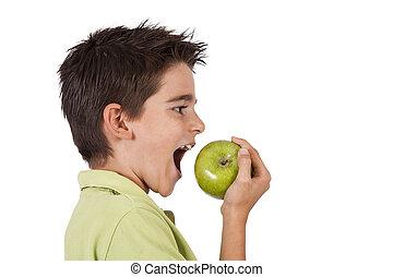 pojke, ätande äpple