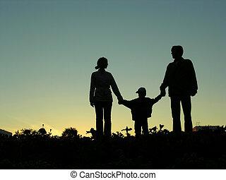pojke, 2, solnedgång, familj