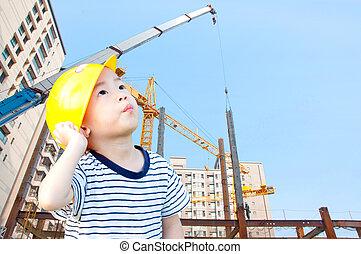 pojke, arkitekter, och, byggnad
