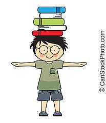 pojke, böcker, leka