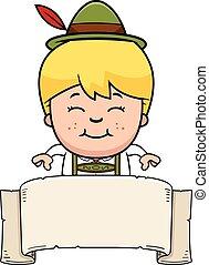 pojke, baner, tecknad film, lederhosen