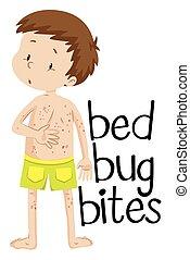 pojke, biter, ha, säng, vägglus