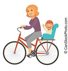pojke, cykel sittplats, mor, baby, ritt, speciell