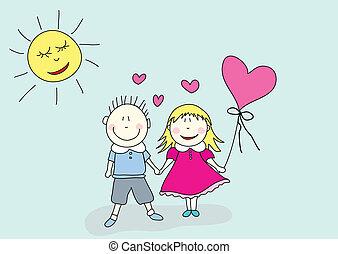 pojke, dag, valentinkort, flicka