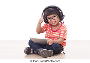 pojke, dator, kompress
